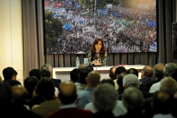 Cristina Fernández en el Instituto Patria durante el encuentro con intendentes peronistas
