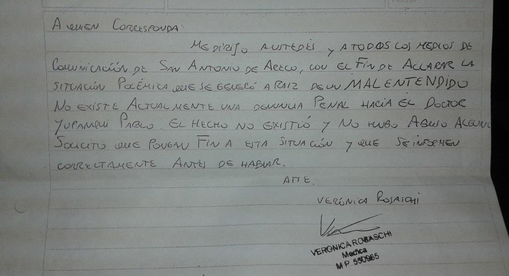 Carta de la Dra. Verónica Rosaschi